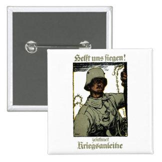 Poster alemán del enlace de guerra de WWI Pin Cuadrado