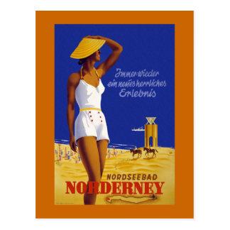 """Poster alemán del viaje del vintage de """"Norderney"""" Tarjetas Postales"""