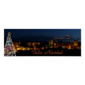 Poster, Alhambra, Christmas, Granada