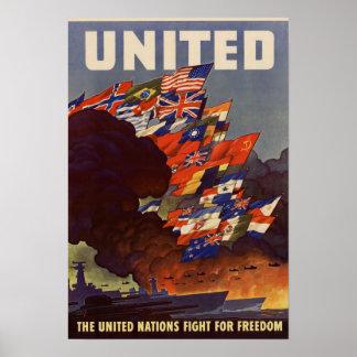 Poster aliado de las banderas de la Segunda Guerra