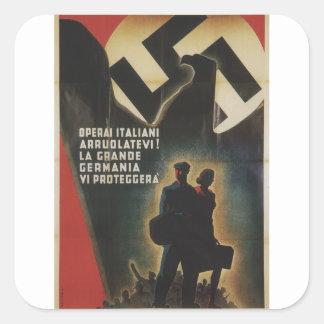 poster alistado de la propaganda pegatina cuadrada