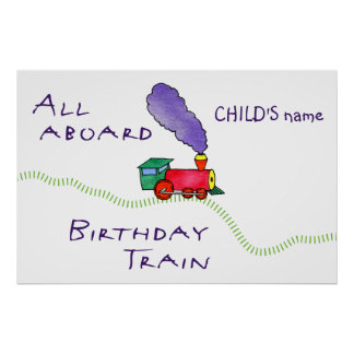 Poster All Aboard (child's name) Birthday Train
