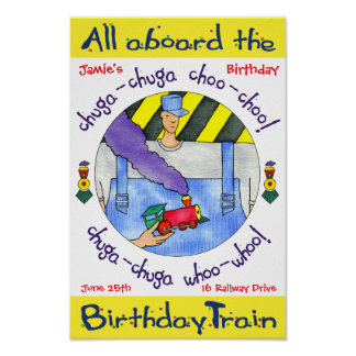 Poster All aboard the Birthday Train