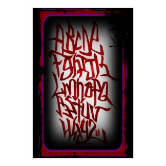 Poster - alphabets graffitti - red