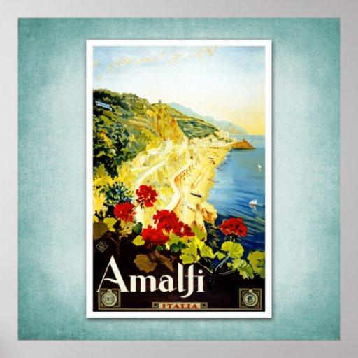Poster Amalfi Italia del vintage del viaje