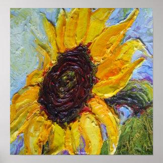 Poster amarillo de la bella arte del girasol