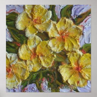 Poster amarillo de la bella arte del racimo de flo