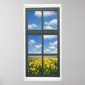 Poster amarillo de la opinión de la ventana de la