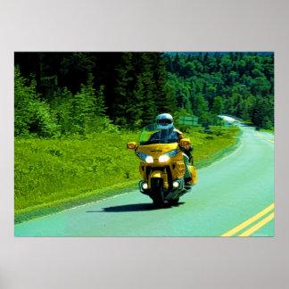 Poster amarillo del arte del montar a caballo de