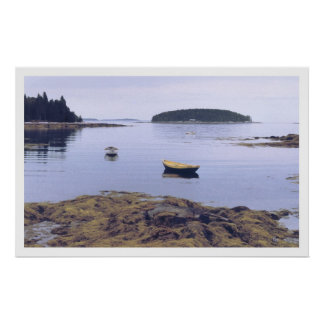 Poster amarillo del barco de pesca de Maine del Do