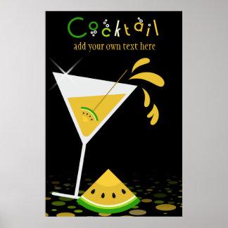 Poster amarillo del cóctel de Martini de la sandía