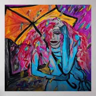 Poster amarillo del paraguas