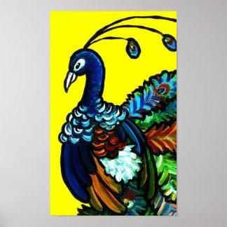 Poster amarillo del pavo real