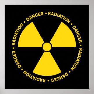 Poster amarillo del símbolo de la radiación