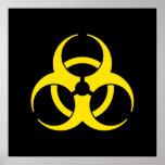 Poster amarillo del símbolo del Biohazard