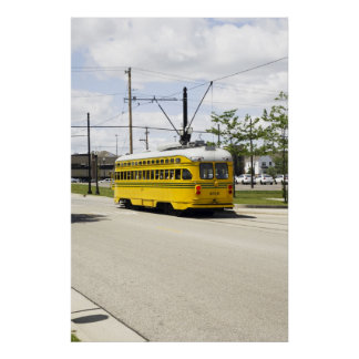 Poster amarillo eléctrico de la tranvía
