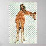 Poster ambarino del arte del búho de la jirafa y