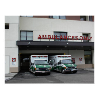 Poster:-Ambulances at Twin Cities Hospital