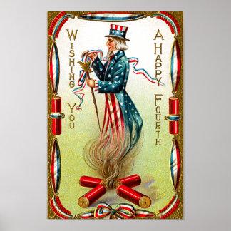 Poster americana de julio del cuarto del vintage