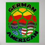 Poster americano alemán del fútbol póster