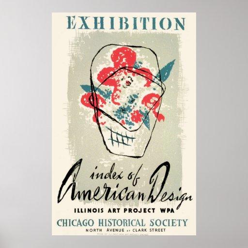 Poster americano de Chicago WPA del diseño del vin