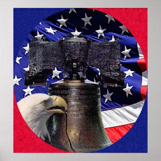 Poster americano de Eagle calvo, de Bell y de la b