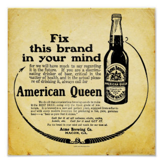 Poster americano de la cerveza de la reina del