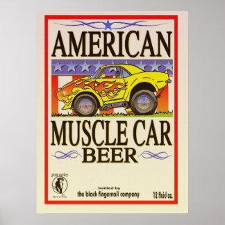 poster americano de la cerveza del coche del múscu