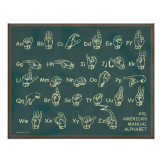 Poster americano de la pizarra del alfabeto manual