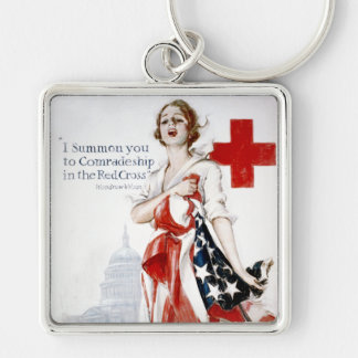 Poster americano de la Primera Guerra Mundial del  Llavero Cuadrado Plateado
