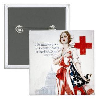 Poster americano de la Primera Guerra Mundial del  Pin Cuadrado