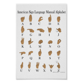 Poster americano del alfabeto del ASL del lenguaje
