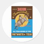 Poster americano del montar a caballo del toro del pegatina redonda