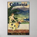 Poster americano del viaje del vintage de Californ