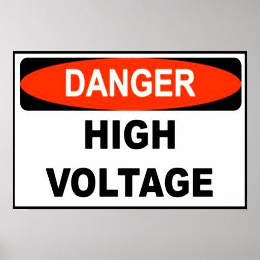 Poster amonestador de alto voltaje