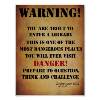 Poster amonestador de la biblioteca