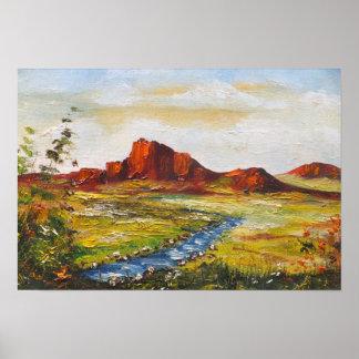 Poster Ana Hayes que pinta la roca roja Canyan