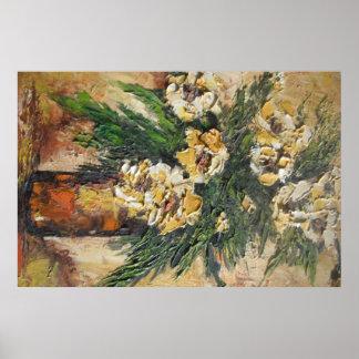 Poster Ana Hayes que pinta las flores amarillas en Póster