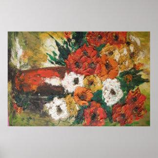 Poster Ana Hayes que pinta las flores rojas mezcla