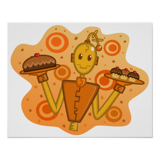 Poster anaranjado de la Robot-Celebración