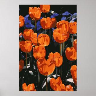 Poster anaranjado de los tulipanes