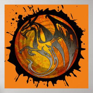 Poster anaranjado del dragón de la salpicadura de póster