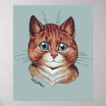 Poster anaranjado del gato de Tabby de Louis Wain
