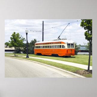 Poster anaranjado eléctrico de la tranvía