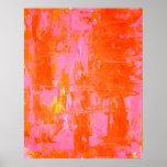Poster anaranjado y rosado del arte abstracto