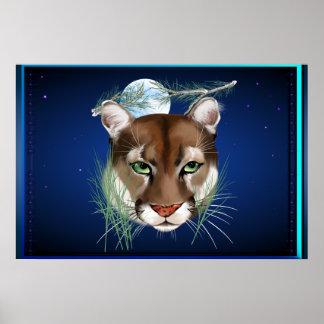 Poster ancho de medianoche del león de montaña