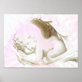 Poster angelical rosado de las alas de la niña - p