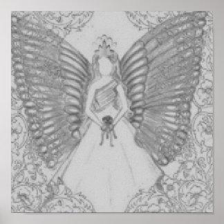 Poster angelical sofisticado del gris del dulce 16
