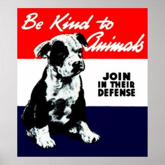 Poster animal de la amabilidad del vintage