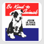 Poster animal de la amabilidad del vintage pegatinas cuadradas